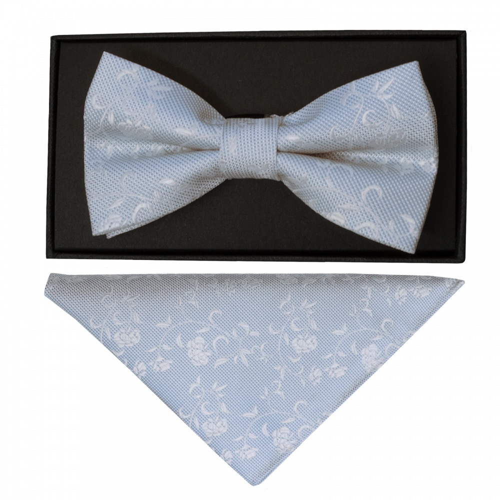 1d18c59353894 TIES R US Sky Blue and White Floral Handmade Mens Bow Tie and Pocket Square  Set