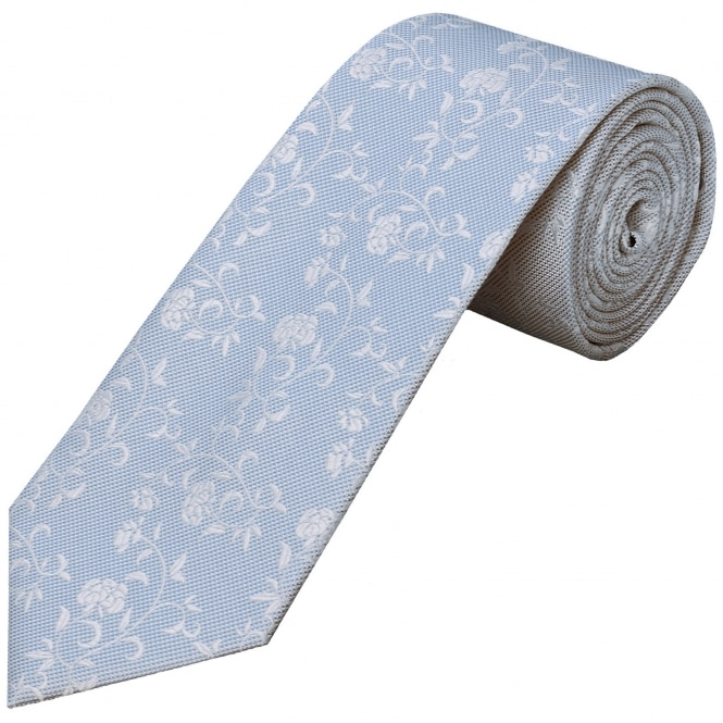 Ties R us Sky Blue Floral Classic Men's Tie