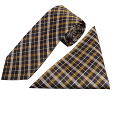Black and Gold Tartan Silk Tie and Handkerchief Set