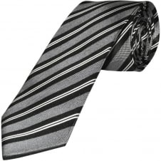 Black and White Striped Hand Made Classic Men's Silk Tie