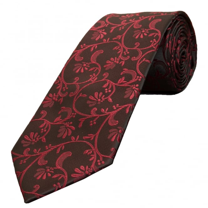 Ties R us Black with Burgundy Floral Classic Men's Tie