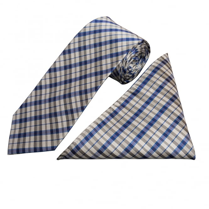Ties R us Blue and White Tartan Silk Tie and Handkerchief Set