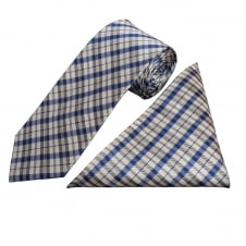 Blue and White Tartan Silk Tie and Handkerchief Set