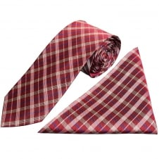 Burgundy Tartan Silk Tie and Handkerchief Set