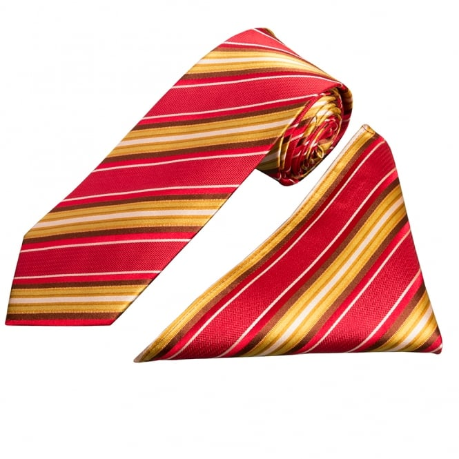 Ties R us Gold and Red Stripe Silk Tie and Handkerchief Set