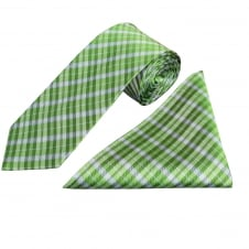 Green Tartan Silk Tie and Handkerchief Set