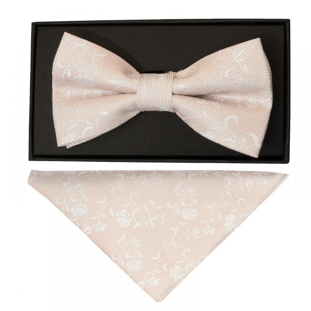 76ec15d8e74c Light Peach and White Floral Handmade Mens Bow Tie and Pocket Square Set