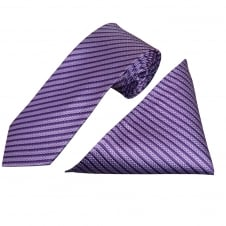 Lilac Stripe Silk Tie and Handkerchief Set