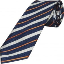 Navy and Orange Striped Hand Made Classic Men's Silk Tie