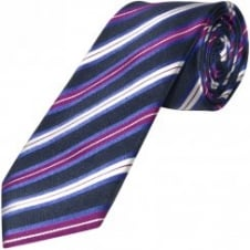 Navy and Purple Striped Hand Made Classic Men's Silk Tie