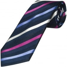 Navy Striped Hand Made Classic Men's Silk Tie