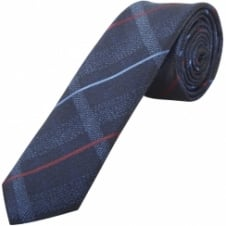 Navy Tartan Check Skinny Men's Tie