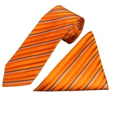 Orange Stripe Silk Tie and Handkerchief Set