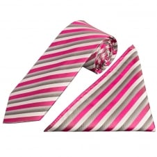 Pink and Grey Stripe Silk Tie and Handkerchief Set
