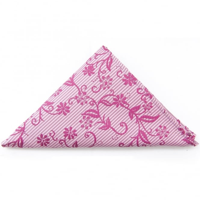 Ties R us Pink Floral Pocket Square