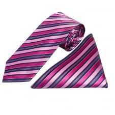 Pink Multi Stripe Silk Tie and Handkerchief Set