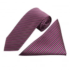 Purple and Black Stripe Silk Tie and Handkerchief Set