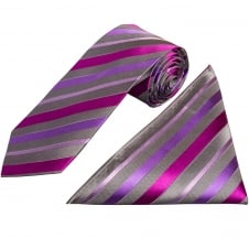 Purple and Grey Stripe Silk Tie and Handkerchief Set