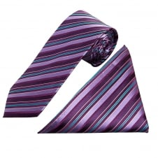 Purple Multi Stripe Silk Tie and Handkerchief Set