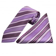 Purple Stripe Silk Tie and Handkerchief Set