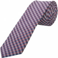 Red and Blue Check Skinny Men's Tie