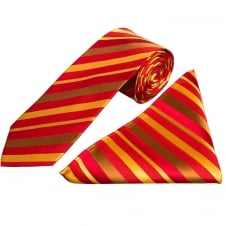 Red and Gold Stripe Silk Tie and Handkerchief Set