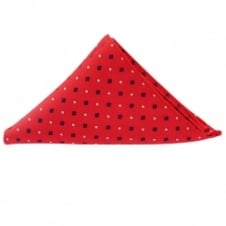 Red and Navy Neat Patterned Pocket Square