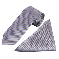 Silver and Blue Stripe Silk Tie and Handkerchief Set