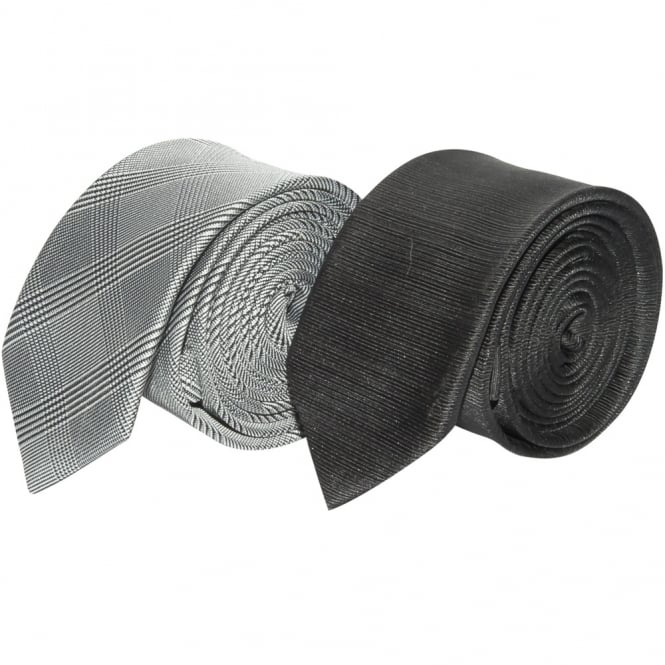 Ties R us Twin Pack Black and Silver Check Skinny Tie Set