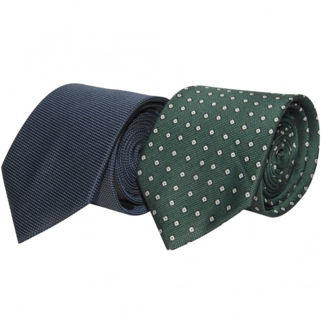 Ties R us Twin Pack Navy and Green Classic Tie Set