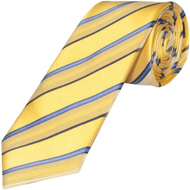 Ties R us Yellow and Blue Striped Hand Made Classic Men's Silk Tie