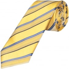 Yellow and Blue Striped Hand Made Classic Men's Silk Tie